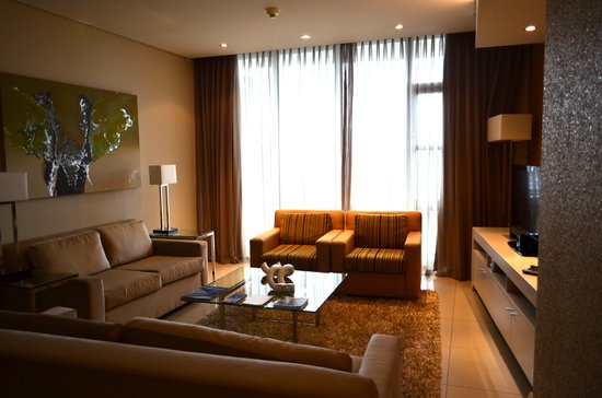 Lawhill Luxury Apartments:                   Comfortable Living room and spacious enough for an entire family