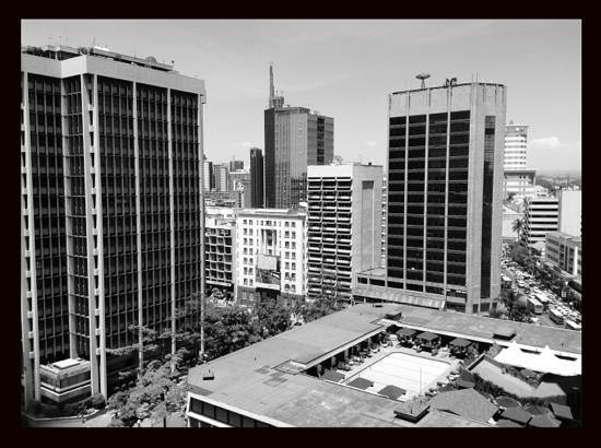 Hilton Nairobi :                   a rare view from above showing the position of the pool