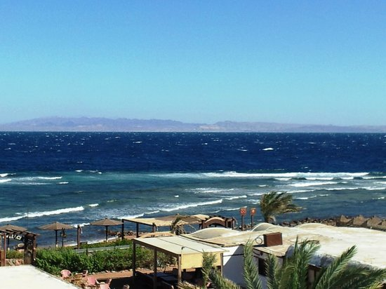 Blue Beach Club:                                     Red sea and the mountains of Saoudi Arabia, view from the ro