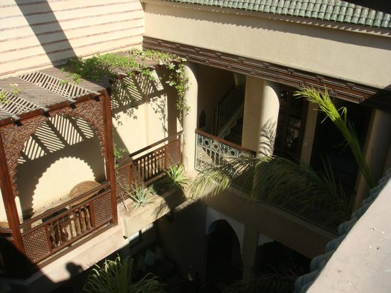 Riad Zayane :                   view from terrace over courtyard