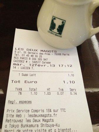 Cafe Les Deux Magots:                   1,10 euro supplement voor beetje melk..