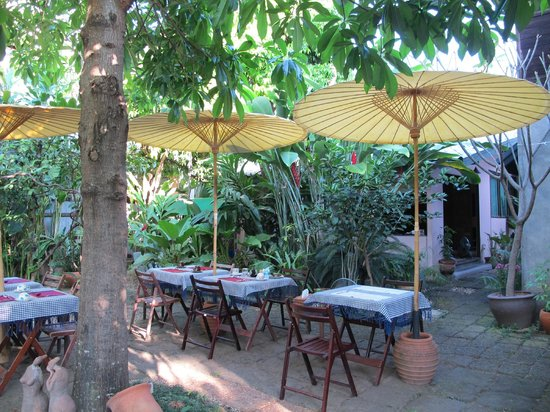 Baan Hanibah: yard where breakfast goes