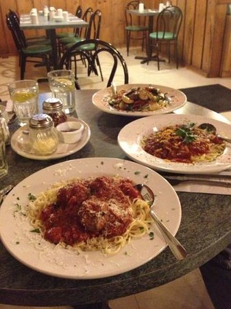 Durham Cafe:                                     spaghetti and meatballs and chili spaghetti