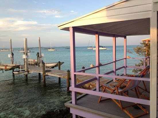 Staniel Cay Yacht Club:                   The morning view from the Key Lime Cottage across the Pomk Cottage