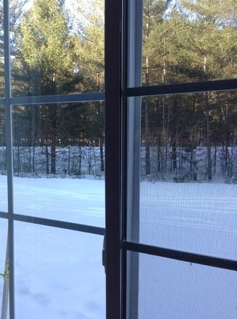 Holiday Inn Express North Conway: snowmobile trail right outside our room!