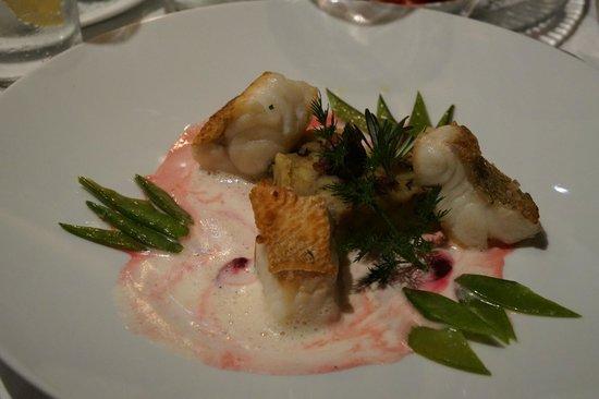 Berghotel Schlossanger Alp: Dinner (fish)