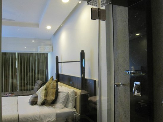 The Gateway Hotel Janardhanapuram Varkala:                   View from bathroom through window to bed
