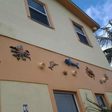 Bougainvillea on the Beach:                   the whimsical sea creatures on the outside walls