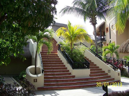 Catalonia Yucatan Beach:                   Stairs to the Creperie