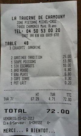 La Taverne de Chamouny:                   terribile pagati 0,20 centesimi per il bricco di latte con cui macchiare il ca