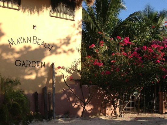 Mayan Beach Garden:                   Front of MBG inn (from beach road)