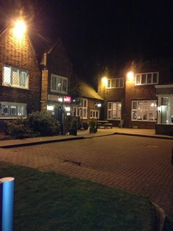 Mercure Letchworth Hall:                   night time at the entrance to hotel