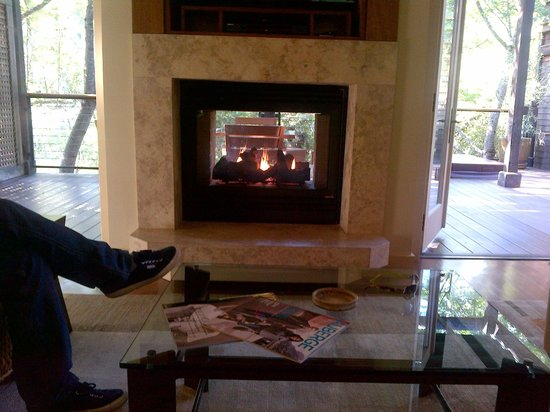 Calistoga Ranch, An Auberge Resort:                                     Our private fireplace in the living room