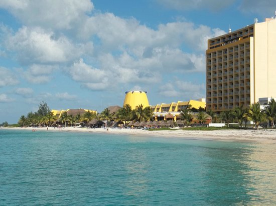 Melia Cozumel Golf - All Inclusive:                                     View from pier south of hotel