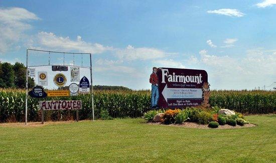 James Dean Memorial Park:                   Sign when entering Fairmont, Indiana