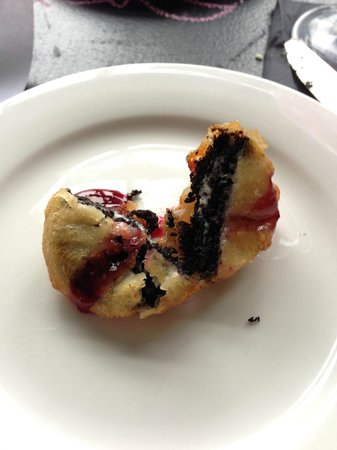 M3: Fried Oreo with rasberry sauce