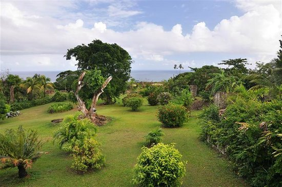 Mule House :                   View over the garden to the ocean