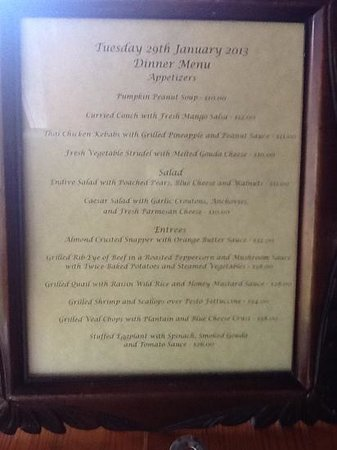 Sugar Mill Hotel:                   the menu