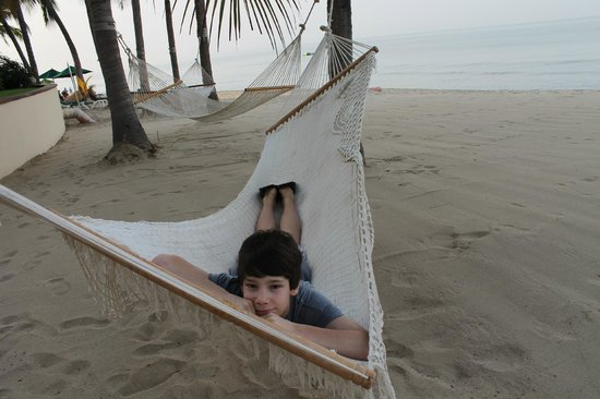Villa La Estancia :                                     hammocks on the beach for everyone to use