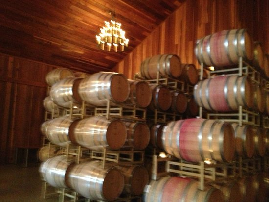 Lambert Bridge Winery:                   Beautiful barrel room