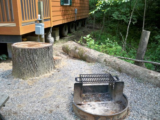 Yogi in the Smokies:                   Firepit outside cabin