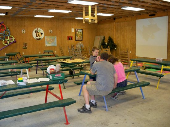Yogi in the Smokies:                   Craft/rec room with movie screen