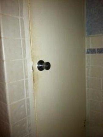 Coco Reef Tobago:                   Gross Bathroom door in our room