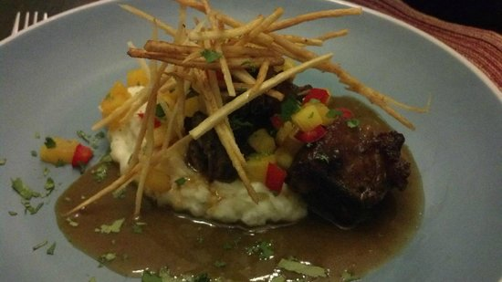 Cozumel Chef - Food Tours:                   Delicious Negro Modelo Braised Short Ribs w/crema mashed. Yucca frites & pinea