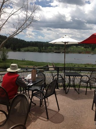 Spring at Evergreen Lake from Willow Creek Restaurant, Evergreen CO