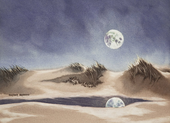 Heather Hannon Island Art Studio: Moonrise on the Dunes