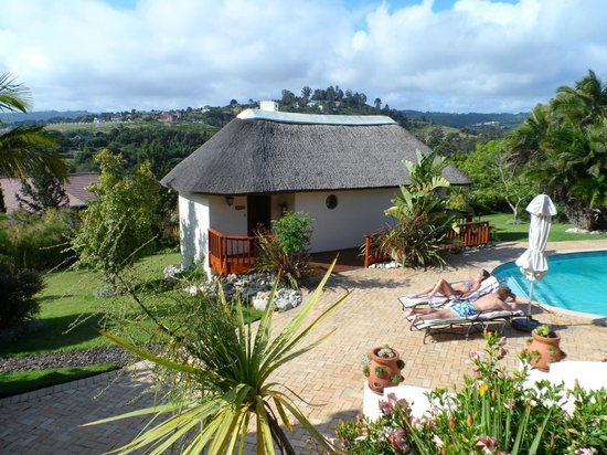 Knysna Country House:                   View on the garden with pool