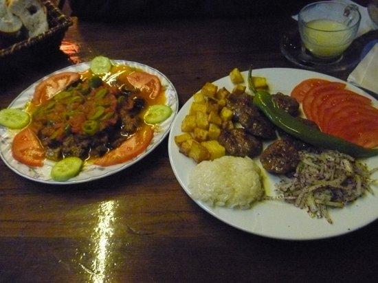 Cafe Marmara:                   Eggplant mezes and meatball platter