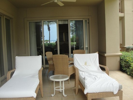 "The Ritz-Carlton, Grand Cayman:                   Great terrace.  Could walk to beach/pool; served as ""backyard"" for our son!"