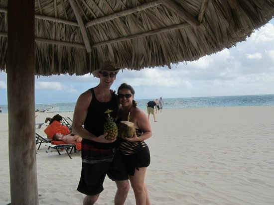 Secrets Royal Beach Punta Cana:                                     amazing looking drinks - fresh pineapple and fresh coconut