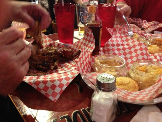 Firehouse BBQ:                   Our food after we ate 1/2 of it.  Really, really good!