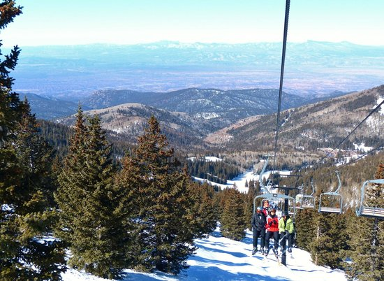 Ski Santa Fe: Looking back and down from the Tesuque lift