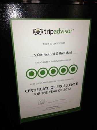 5 Corners Bed & Breakfast: Awareded 5 Stars from Trip Advisor in 2012