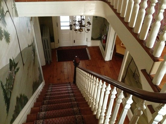 Ash Mill Farm Bed and Breakfast:                   Looking down the steps, to the front door.
