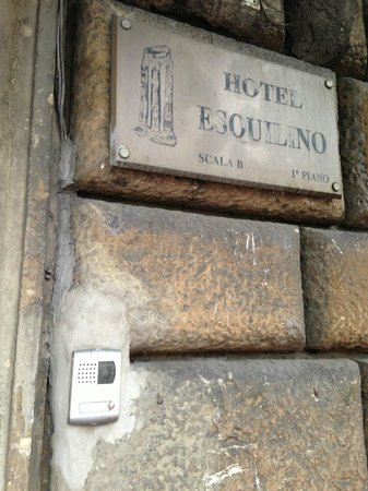 Esquilino Hotel:                   Sign that is next to the front door