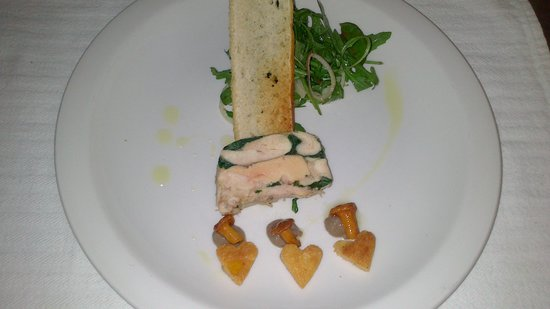 The Green Door:                   Chicken and foie gras terrine with truffle oil for starter on Valentine's nigh