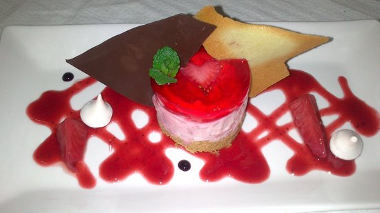 The Green Door:                   Raspberry cheesecake with chocolate as dessert on Valentine's evening,truly de
