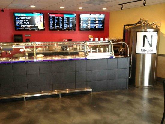 Sub Zero Ice Cream & Yogurt: Counter with Nitrogen Tank