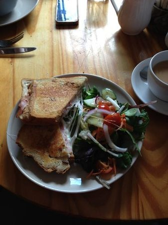 Darnley Coffee House:                   honey roast ham, mozzarella and red onion toastie
