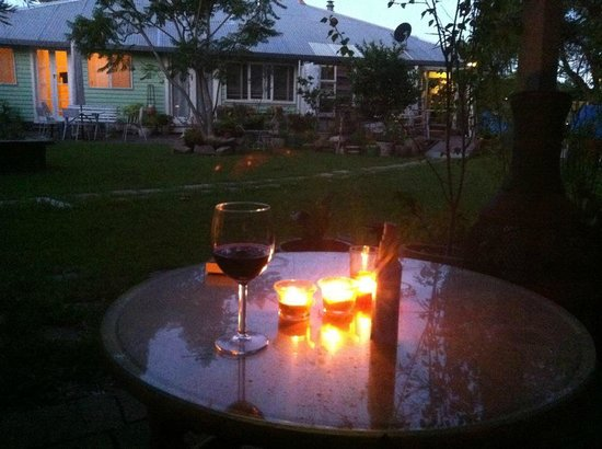 Huskisson Bed and Breakfast :                   Relaxing in the garden after completing half Ironman