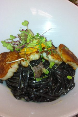 La Piazza:                   Black linguini sea scallop