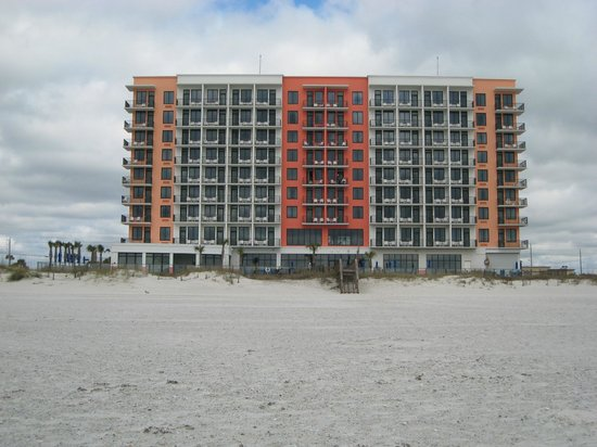 Hampton Inn & Suites Orange Beach:                                     Back of hotel from outside