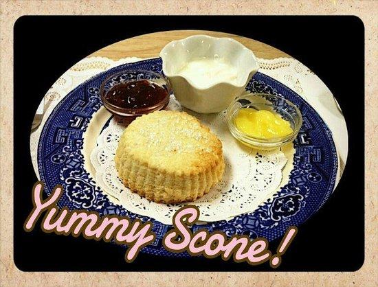 3 Sisters Tea:                   We enjoyed 2 tasty scones! This is the cream scone!
