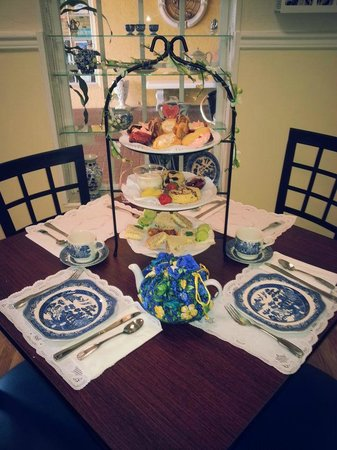 """3 Sisters Tea:                   This is the tiered tray service called the """"Blue Willow,"""" such a cute name."""