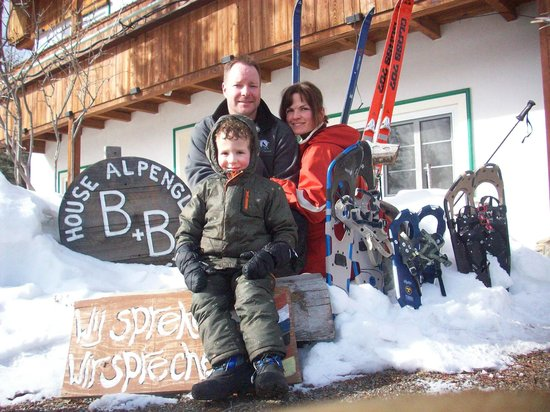 Alpenglow Bed and Breakfast:                   Sitting out front after snowshoeing
