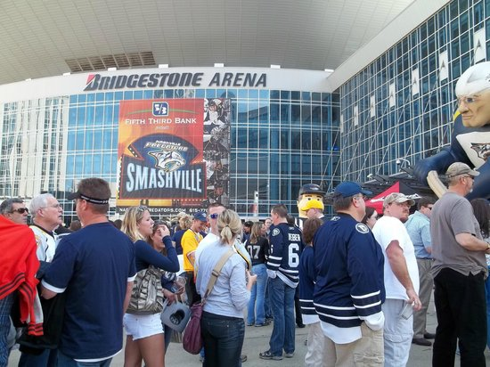 Outside Bridgestone Arena prior to hockey